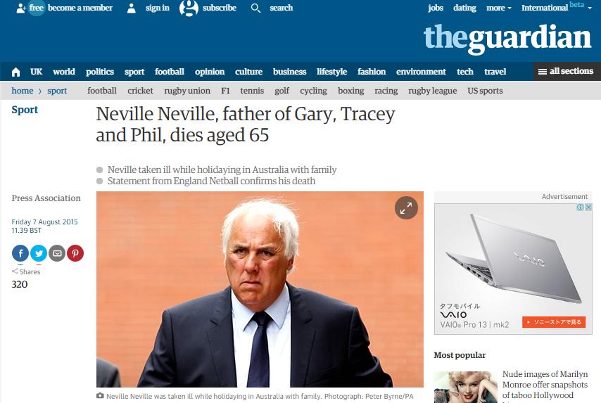 ネヴィル兄弟の父、オーストラリアで死去