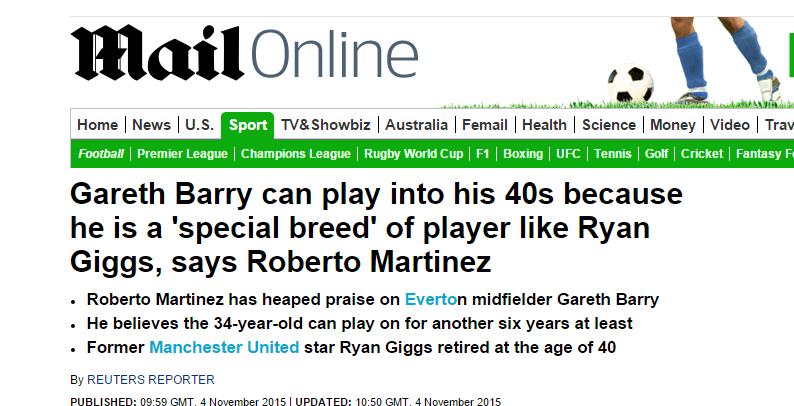 Qoly - Football Web Magazine「G・バリーはギグスに匹敵する」、記録更新まであと何試合?編集部K